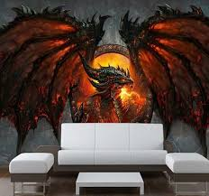 How To Decorate A Large Hallway Aliexpress Com Buy 3d Fire Dragon Photo Wallpaper Personality