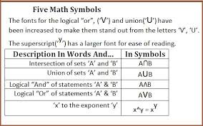 Symbols For - math symbols for union and intersection and and or in mathematics
