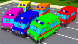 colors for children with surprise ambulance car cartoon learn