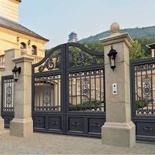 splendid design black villa outside gate flowers carving security