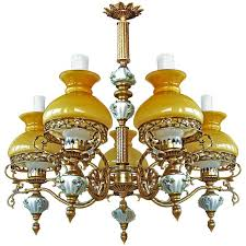 Victorian Chandelier For Sale Antique French Victorian Porcelain Bronze Opaline Yellow Glass