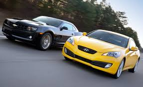 hyundai genesis vs nissan 370z 2010 camaro v6 vs genesis coupe v6 comparison tests
