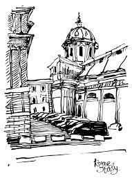 black and white sketch drawing of rome cityscape italy stock