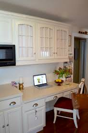 small kitchen desk ideas kitchen desk area in kitchen adding fabric to glass cabinets by