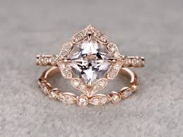 deco engagement ring 2pcs 8mm morganite bridal ring set deco engagement ring 14k
