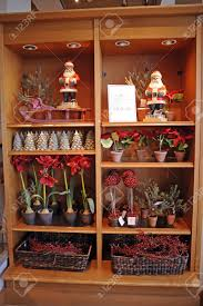 display of christmas home decorations including santa claus