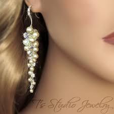 Chandelier Pearl Earrings For Wedding Long Pearl Chandelier Bridal Earrings Crystal Grape Cluster