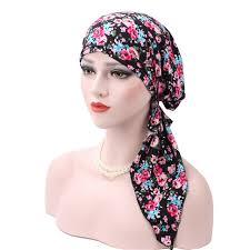 pre chemo women head scarf chemo cotton hat muslim turban pre tied flowers