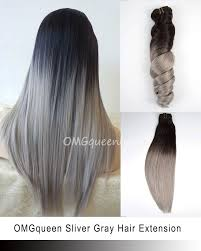 ombre hair extensions clip in high quality sliver gray ombre clip in hair extensions cp04