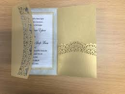 folded wedding invitations chagne gold thress folds wedding invitation card with lace