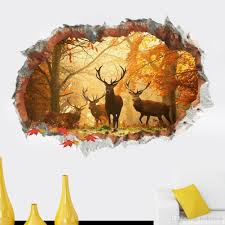 3d deer wall art stickers living room tv background wall see larger image
