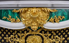 païva marble fireplace with malachite inlays superb white