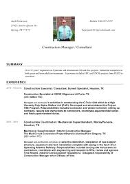 Superintendent Resume Construction Manager Resume