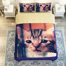 3d oil cat bed sheet sets 3 4pc duvet cover without filler 100