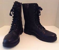 womens black combat boots size 9 madden lace up ankle boots for ebay