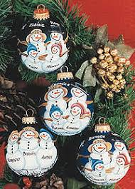 painted custom snowman family ornaments and