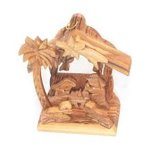 olive wood nativity ornament handmade in the holy land george