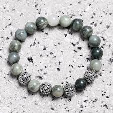 bead bracelet stone images Round silver connectors green stone beads bracelet funky bead jpg