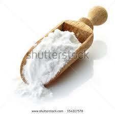 potato starch wooden scoop potato starch isolated on stock photo 154317578