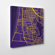 Lsu Campus Map Louisiana State University Campus Map Art City Prints