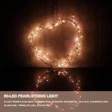 6m 60 led pearl copper wire string light warm white lights
