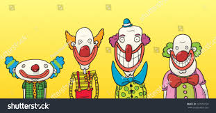 four happy clowns different sizes shapes stock vector 147553139