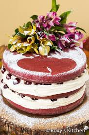 red velvet cake with drunken cherries for our 5th wedding