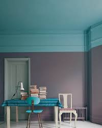 tiffany blue ceiling extended to wall with charcoal gray for