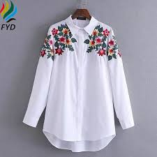 embroidered blouses floral embroidered blouse shirt slim white tops casual