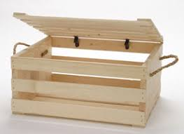2 wood crates with lids and rope handles wood display box