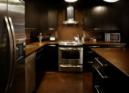 Black Kitchen Cabinets What Color On Wall White High Gloss Countertop Panel Glass Window Dark Kitchen