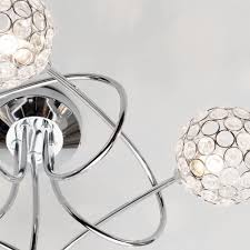 Sphere Ceiling Light Gem 5 Light Twist Semi Flush Ceiling Light Chrome