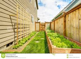 fenced backyard with garden bed stock photo image 44964180
