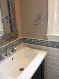 Ceramic Tile With Glass Backsplash Triple Tone Glass Bathroom Backsplash Tile With White Rectangle Bowl