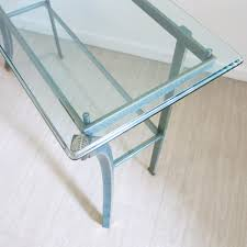 glass and metal console table console table by pierre vandel 1970s for sale at pamono