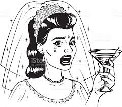vintage martini illustration vintage retro crying bride drinking martini line art icon stock