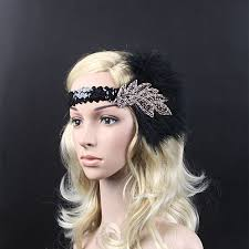 1920s headband vintage feather sequins embellished 20s headpiece 1920s