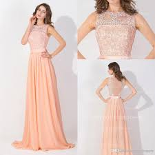 peach pink long chiffon cheap prom dresses 2016 lace real image