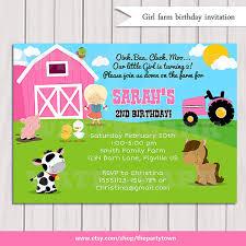 farm birthday invitation barn animals pig chicken