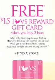 gift card purchase free 15 s secret gift card with purchase of two bras