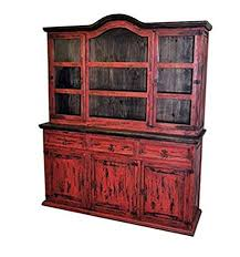 shabby chic china cabinet amazon com rustic red scraped medium 2 piece china cabinet buffet