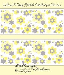 floral wallpaper border yellow grey gray wall art decals for baby