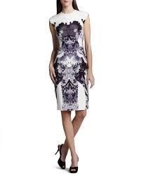 monique lhuillier crane print sheath dress in white lyst