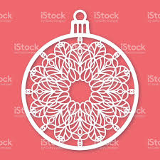 christmas ball with snowflake laser cutting template stock vector