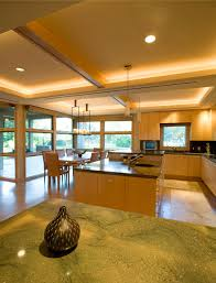 modern house exquisite kitchen design near tiered ceiling along