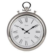 silver round clock round wall clocks pagazzi lighting