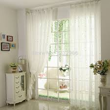 Shabby Chic Voile Curtains Cotton Voile Curtains White Fabric Sheer Silver Pressed Tulle For