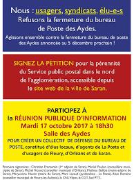 fermeture des bureaux de poste saran non à la fermeture de la poste des aydes 600