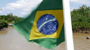 Brazil Flag Image Brazilian Flag On The Boat Traveling Along The Canal In Belem Do