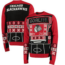 ugly christmas sweater with lights chicago blackhawks klew light up ugly sweater black red